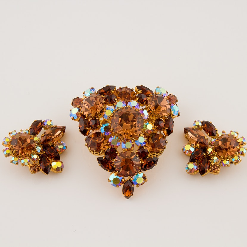 Austrian Brooch and Clip-Back Earrings, Circa 1950s