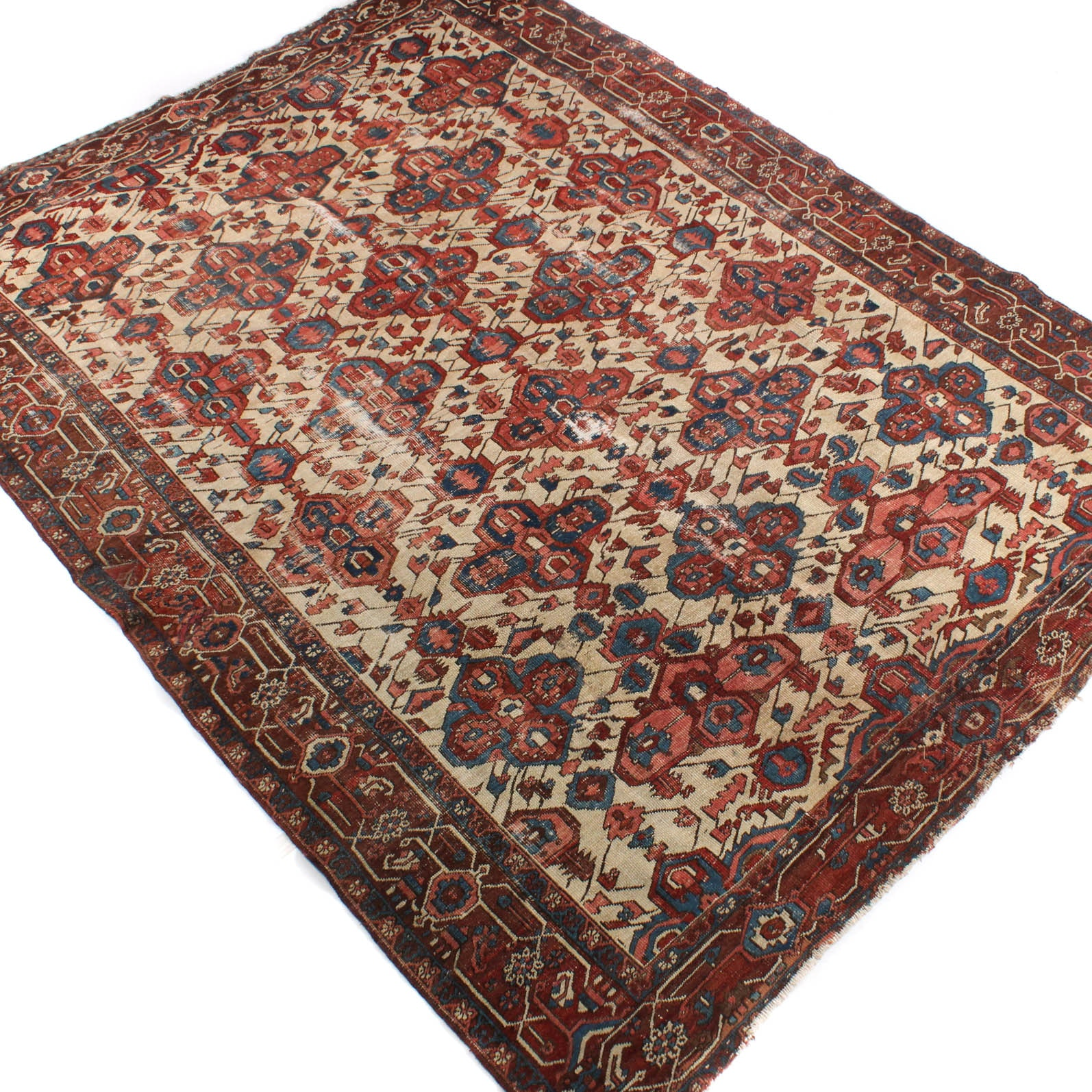 9' x 12' Antique Hand-Knotted Persian Heriz Serapi Rug