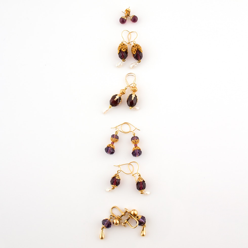 Vintage Bal-Ron Baroque Earrings Featuring Cultured Pearls and Glass Stones