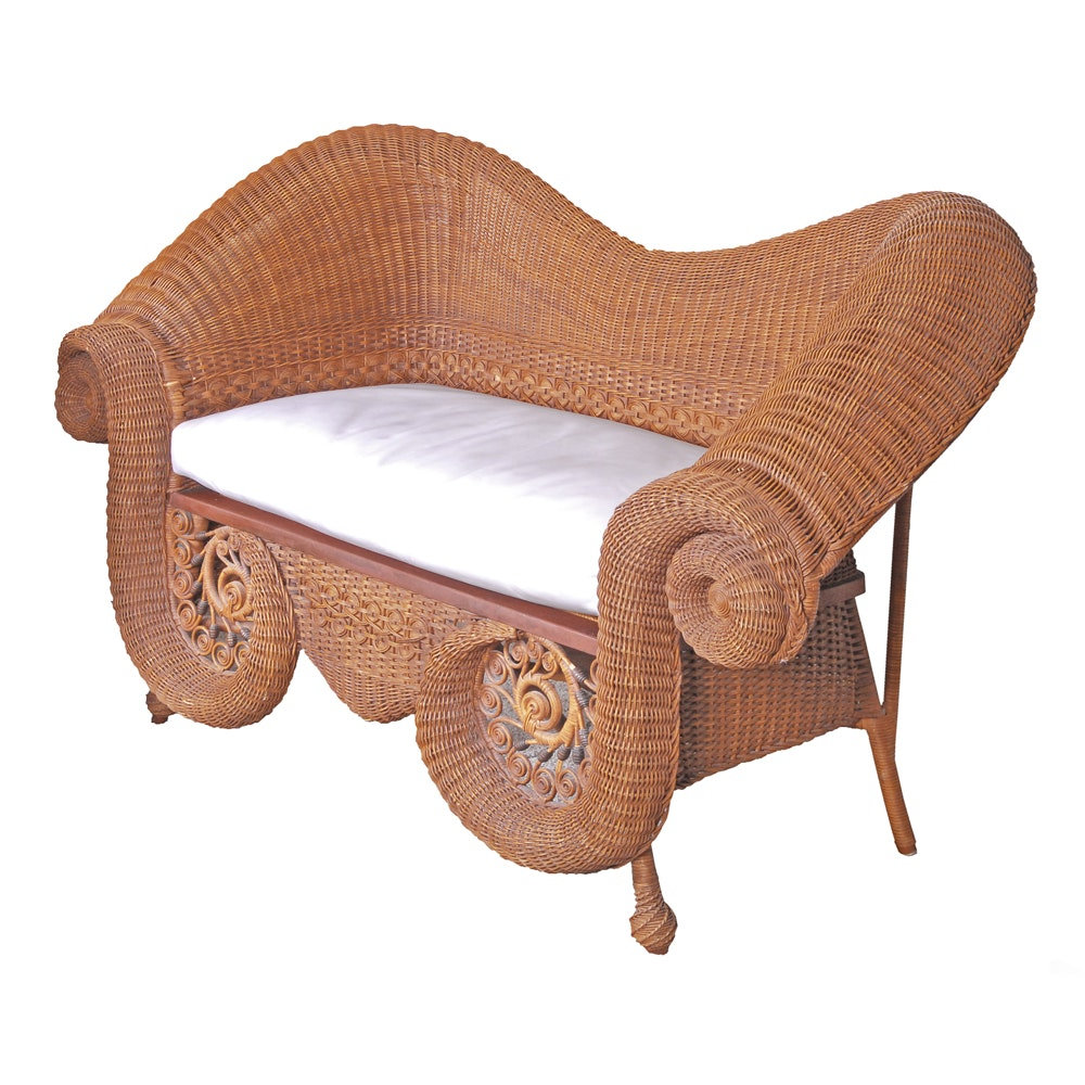 Victorian Style Wicker Sofa by The Hays House