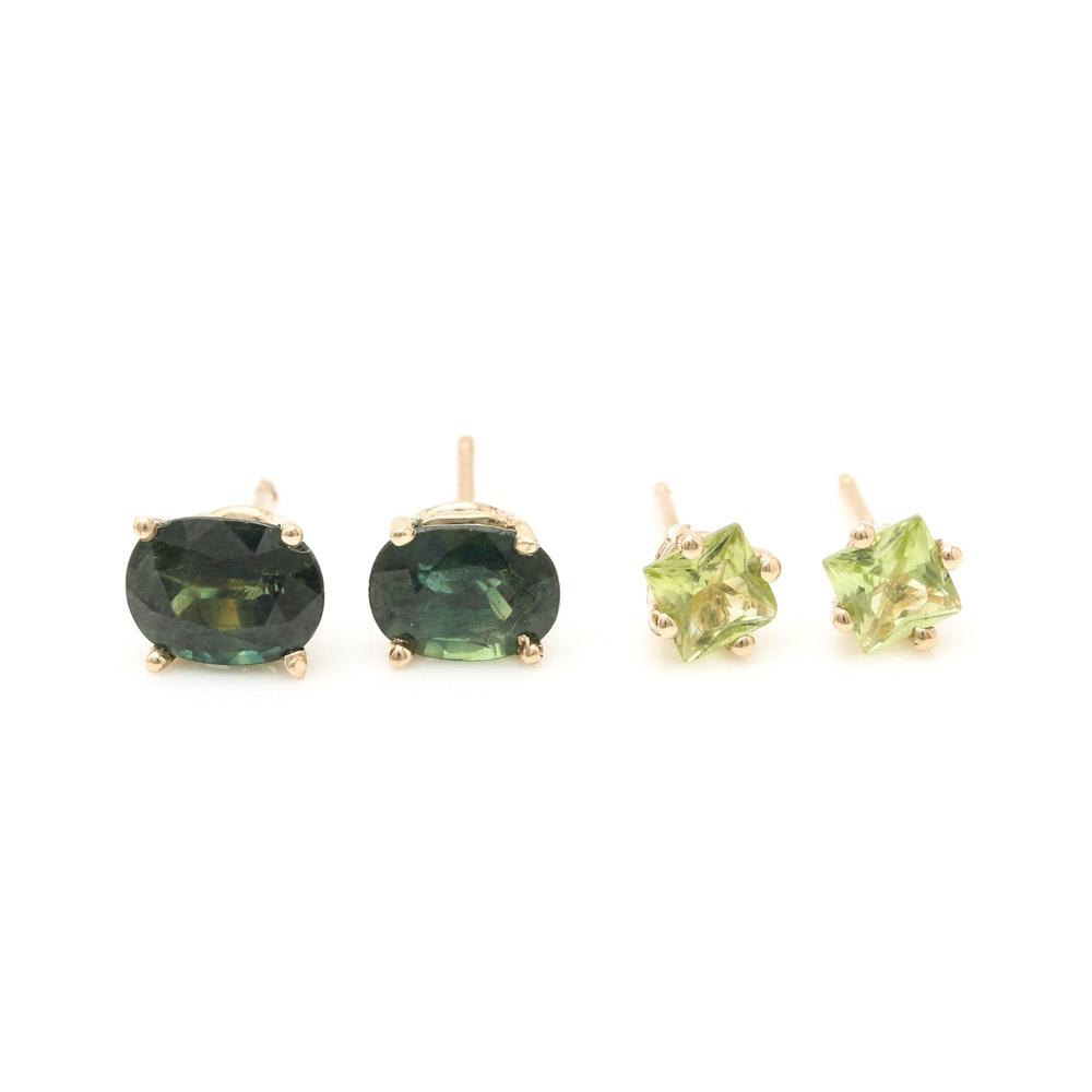14K Yellow Gold Peridot and 2.24 CTW Fancy Sapphire Stud Earrings