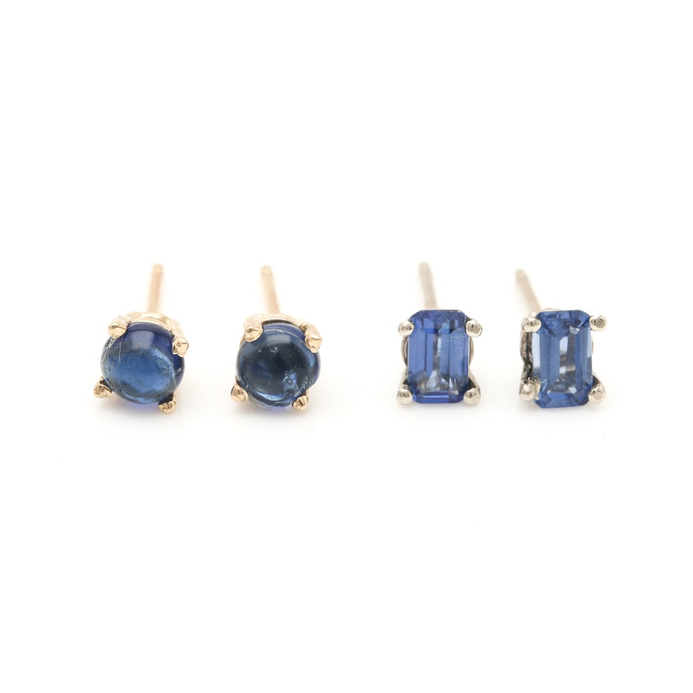 14K Yellow Gold Blue Sapphire and Blue Glass Earrings
