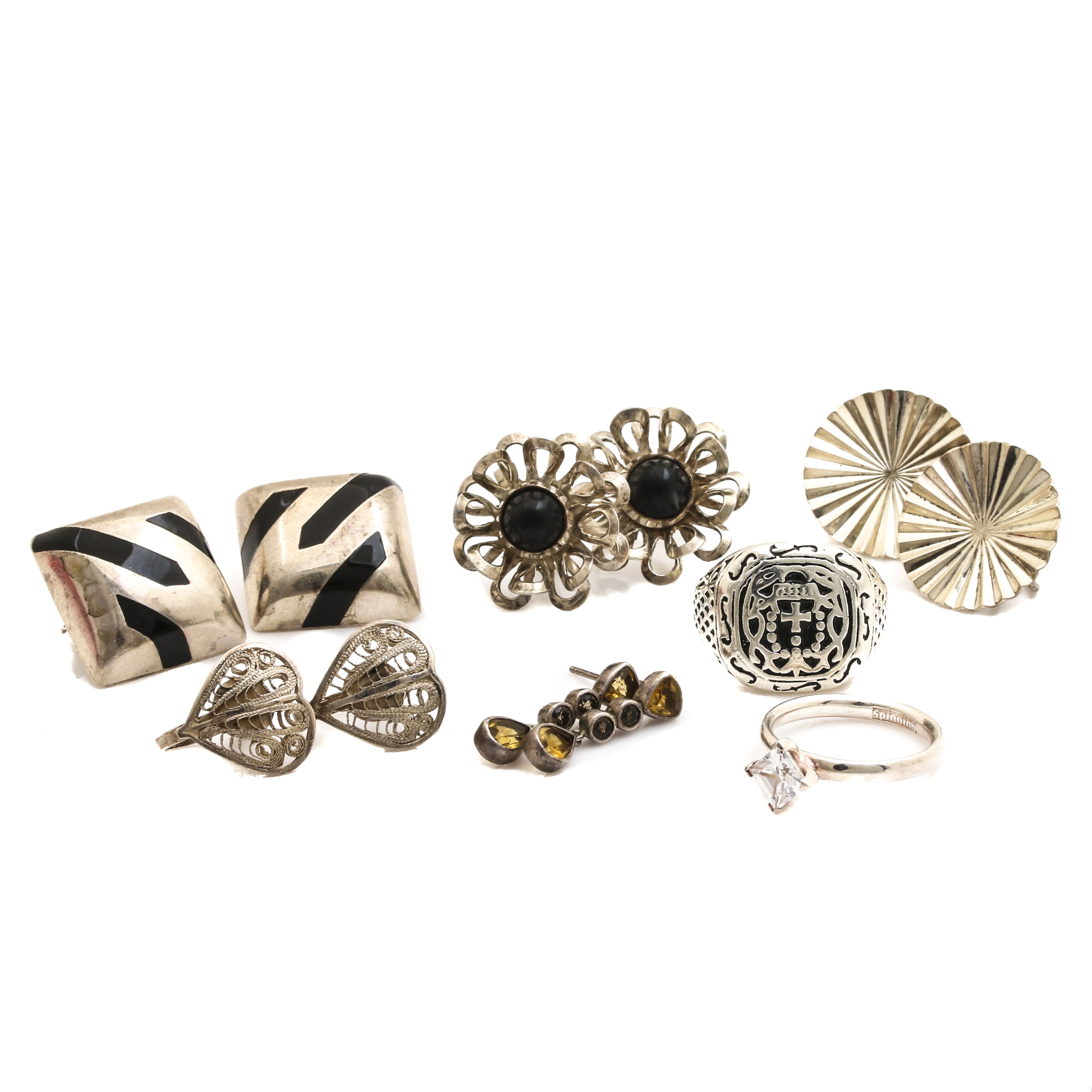 Sterling Silver Ring and Earring Selection Including Citrine