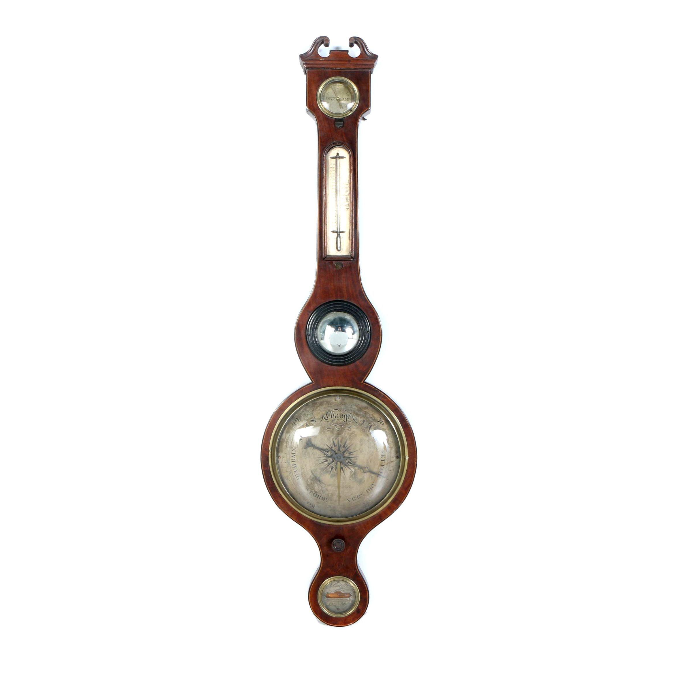 Antique Ortelli Oxford Banjo Style Barometer