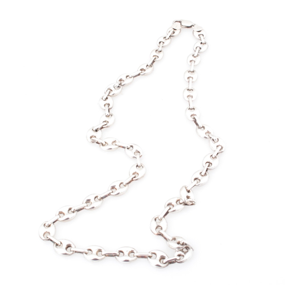 Sterling Silver Gucci Link Chain Necklace