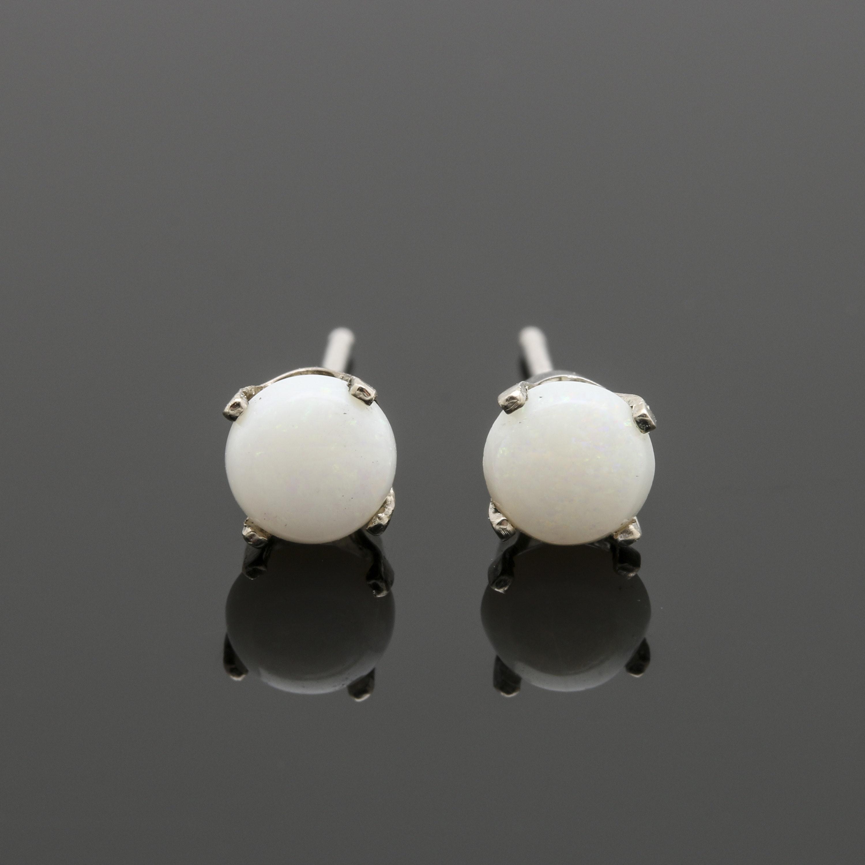 14K White Gold Opal Stud Earrings