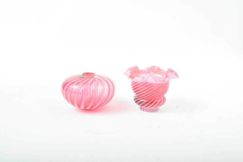Fenton Cranberry Art Glass Lamp Shades