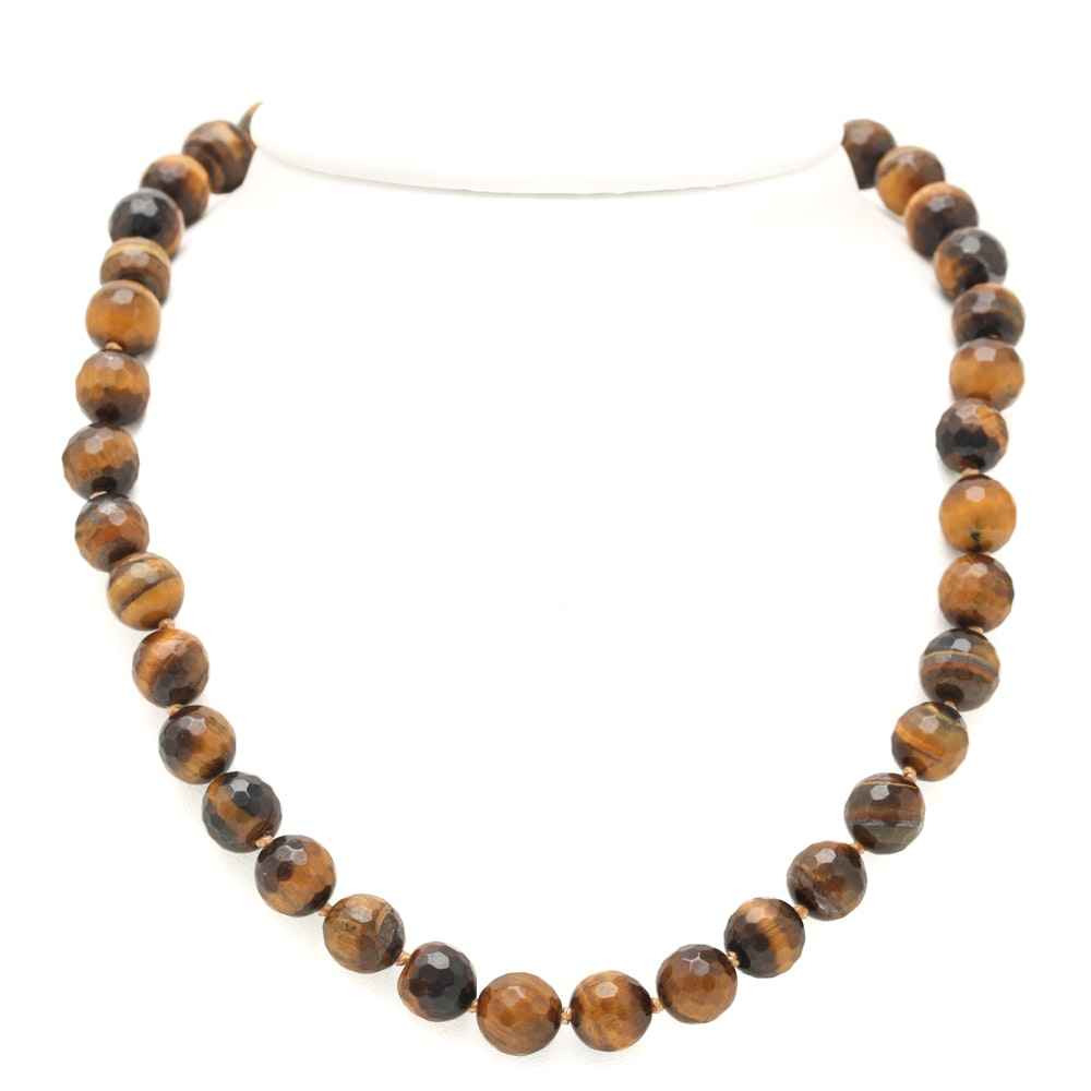 14K Yellow Gold Tiger's Eye Beaded Necklace