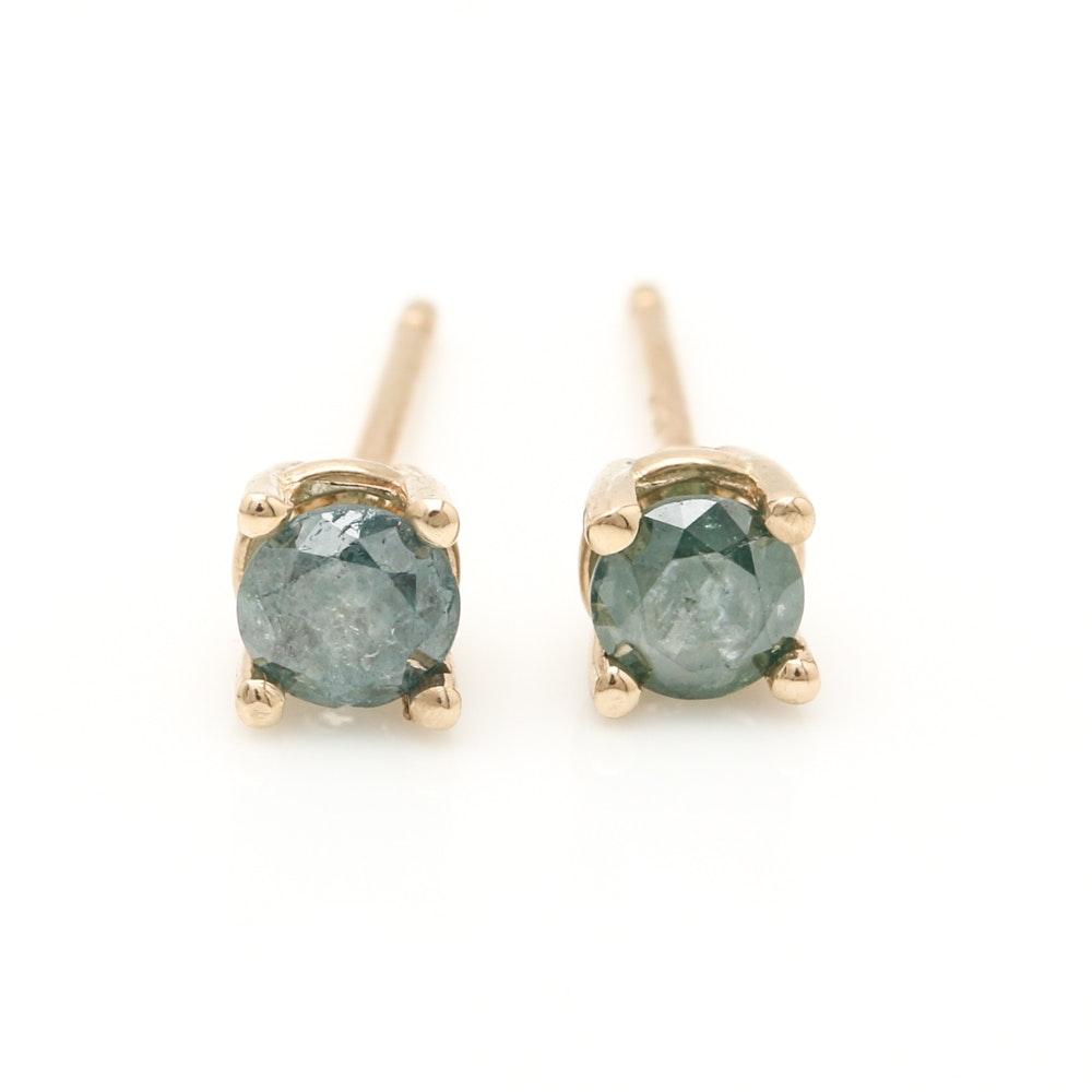14K Yellow Gold Irradiated Blue Diamond Stud Earrings