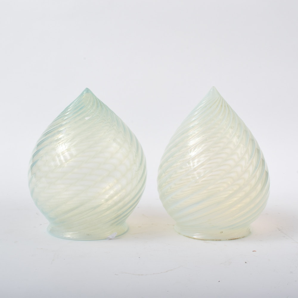 Victorian Hand Blown Opalescent Glass Teardrop Shades