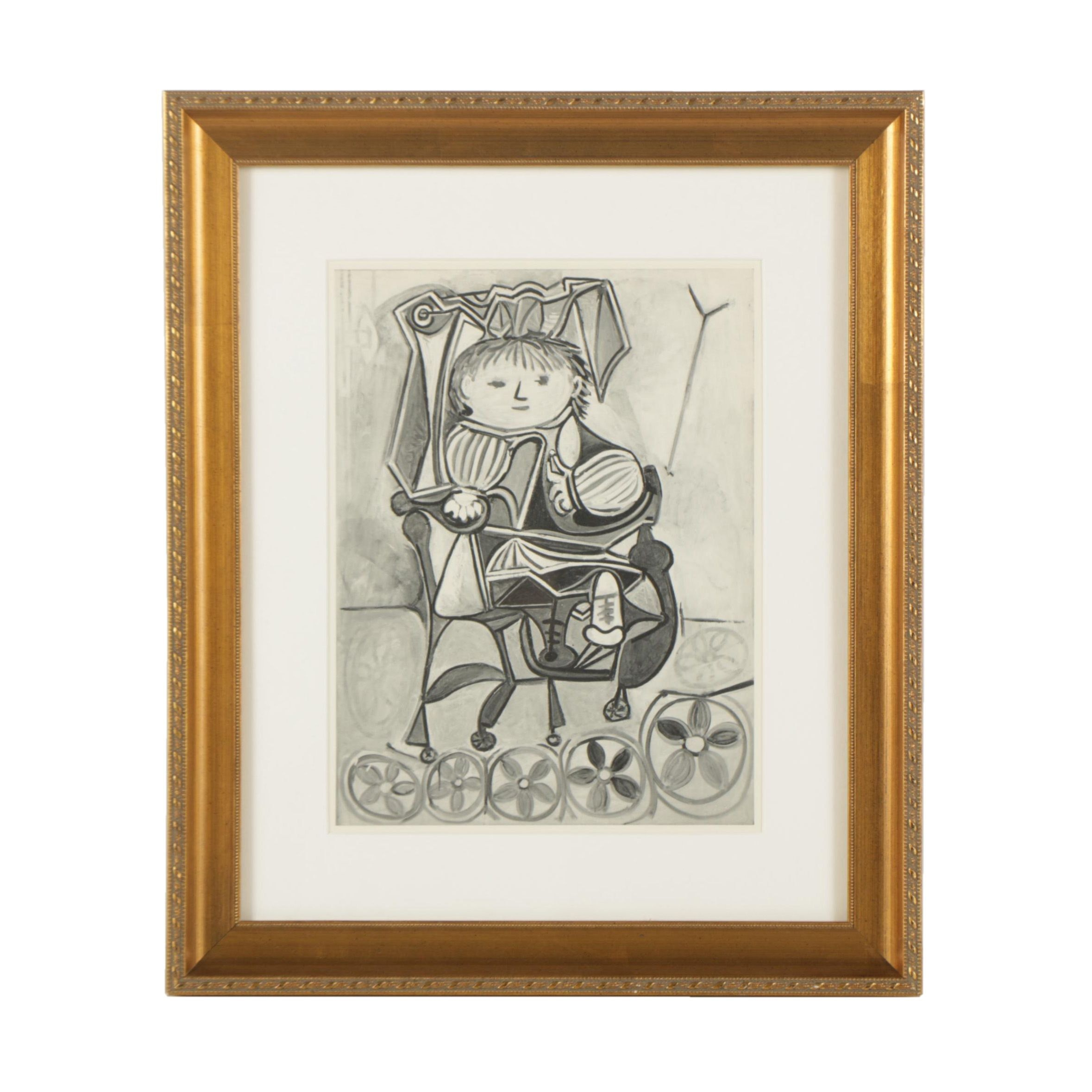 Lithograph Print of Black and White Cubist Style Portrait