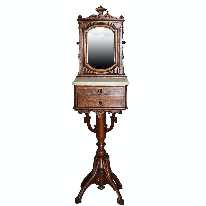 Antique Renaissance Revival Walnut Shaving Stand