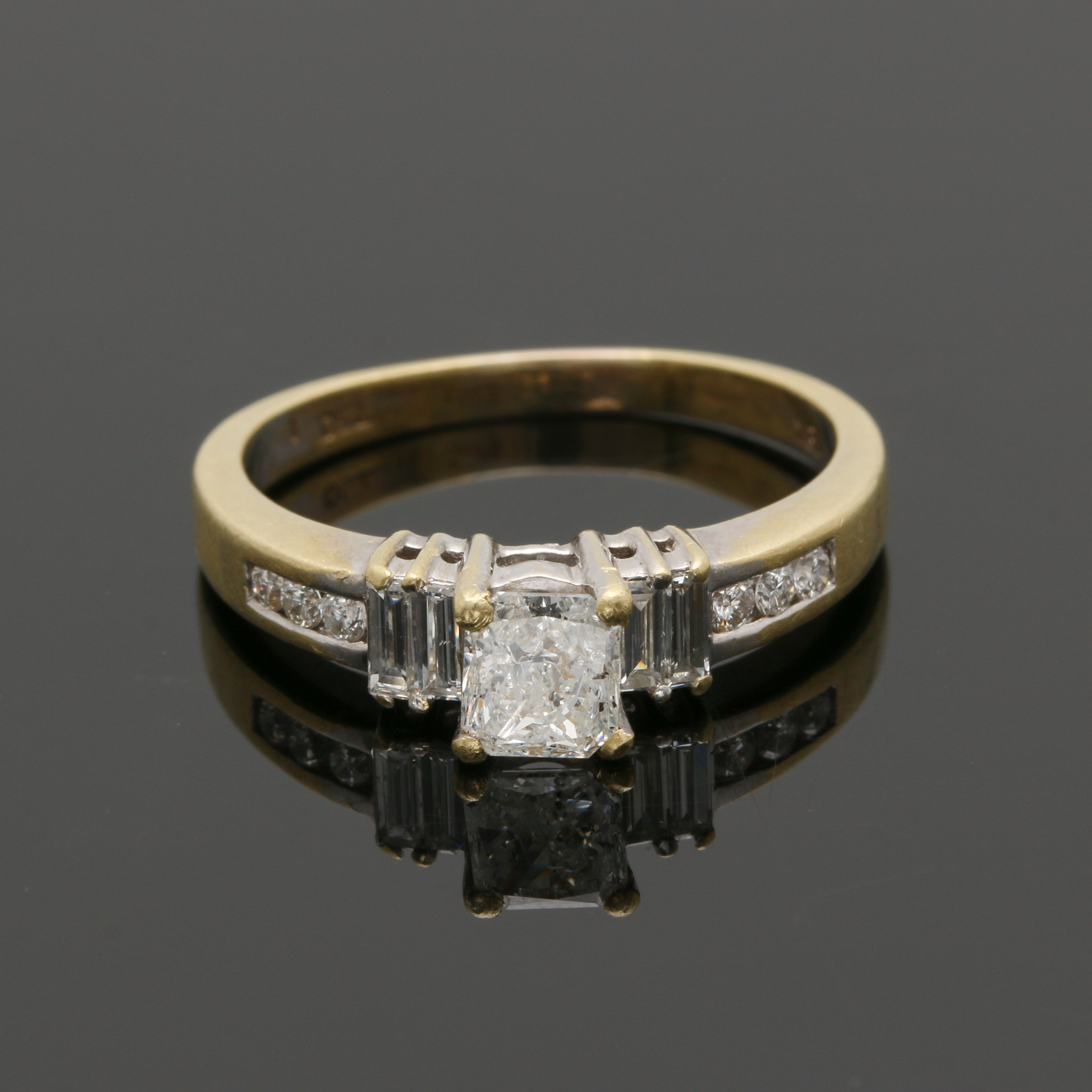 18K Yellow Gold 0.92 CTW Diamond Ring With White Gold Accents
