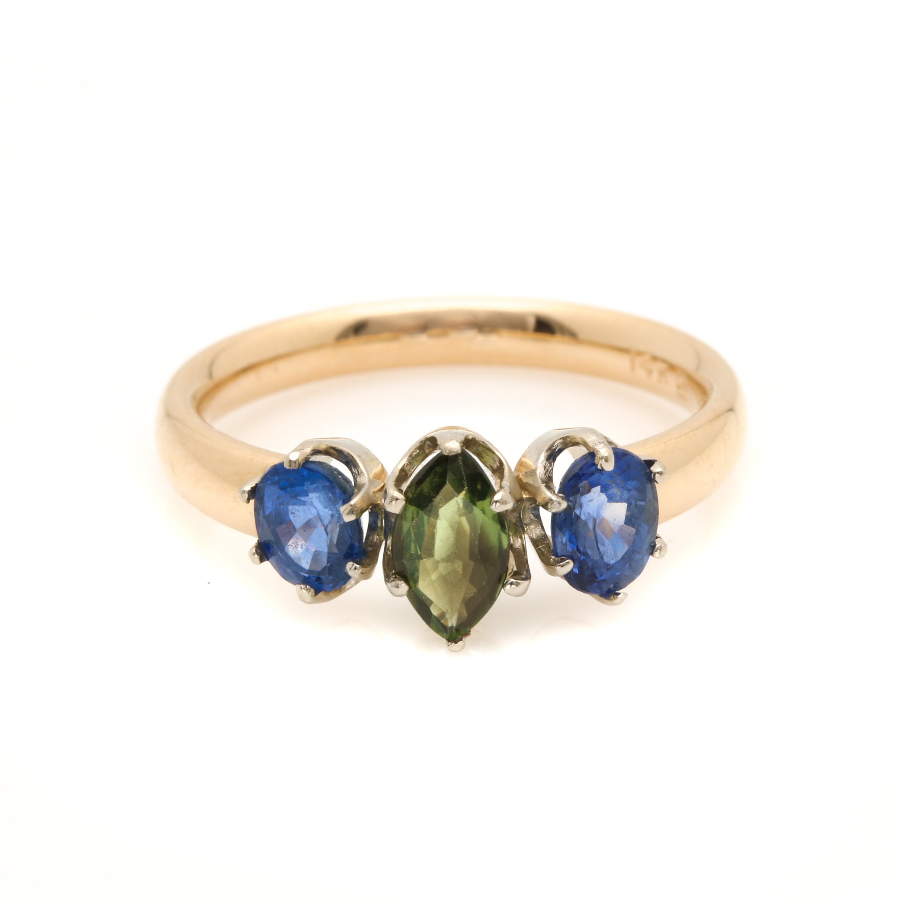 14K Yellow Gold Sapphire Ring With White Gold Accent