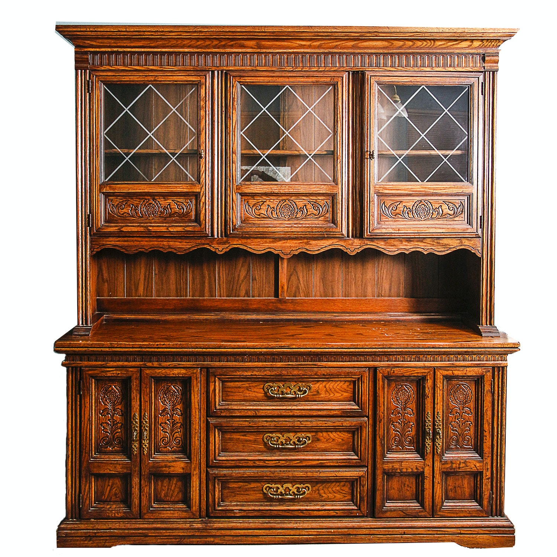 Vintage Mediterranean Style Oak China Cabinet