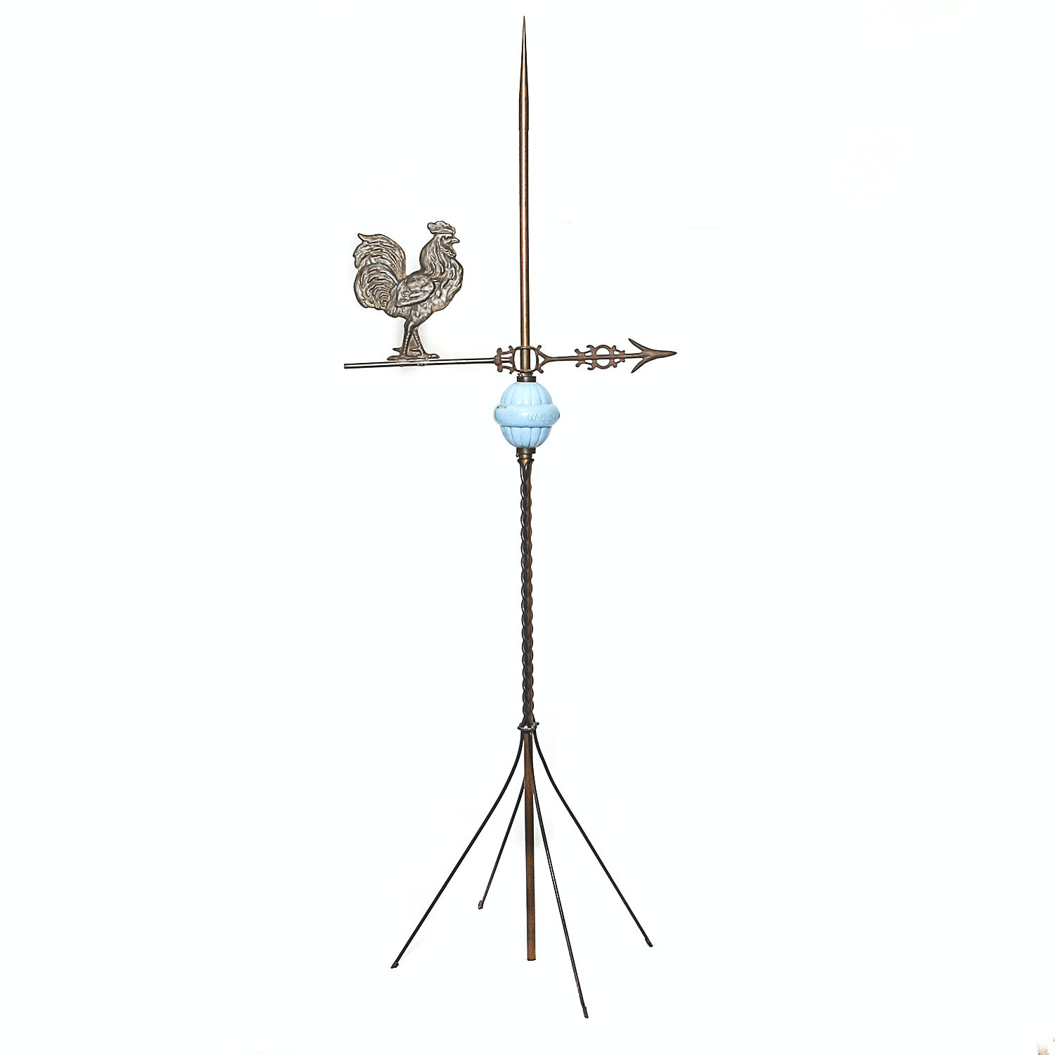 Antique Lightning Rod and Rooster Weathervane