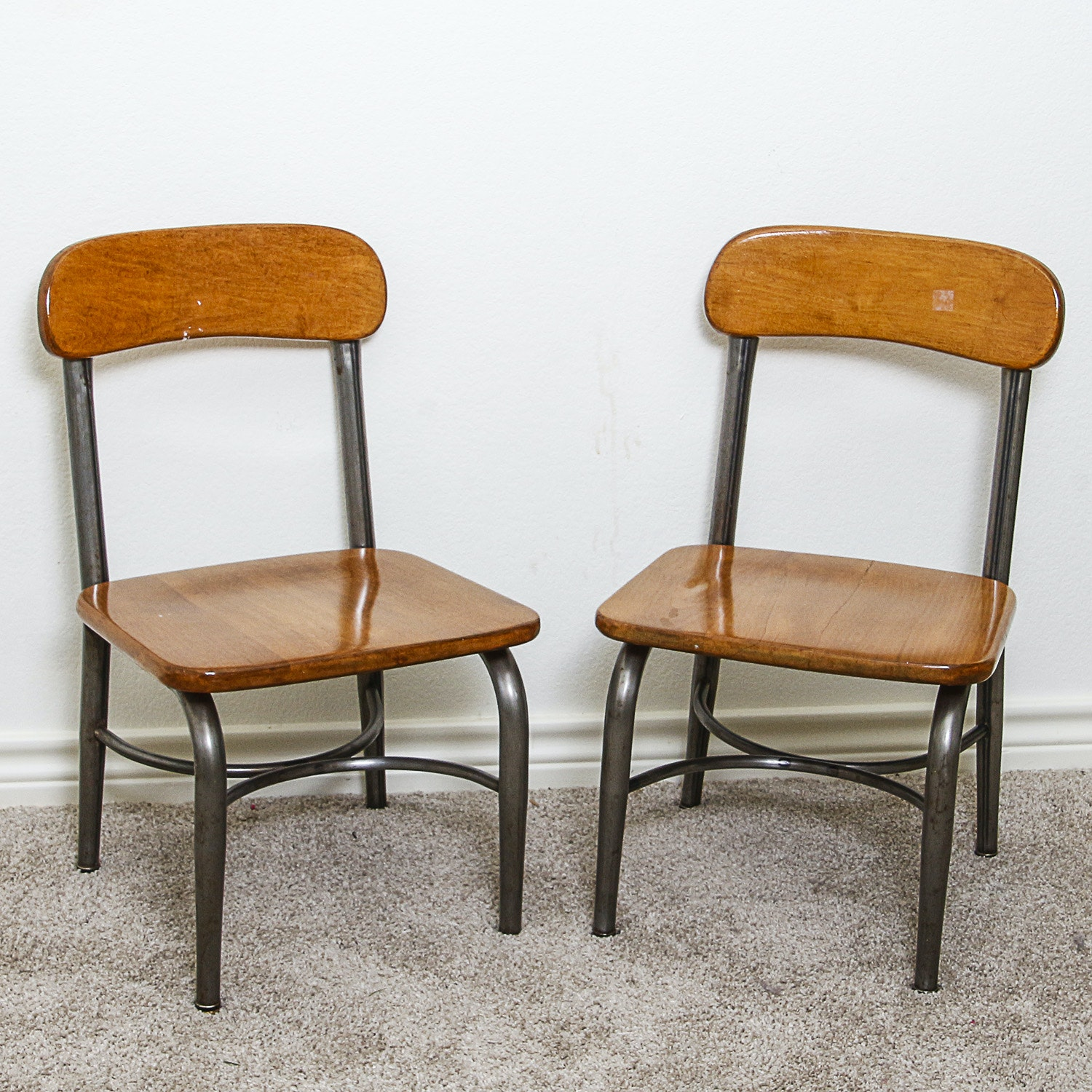 Pair of Vintage Student Chairs