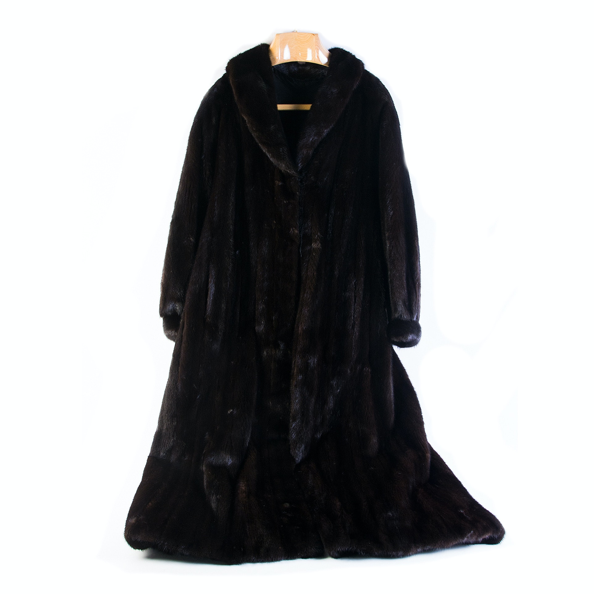 Luxurious Full-Length Black Mink Fur Coat