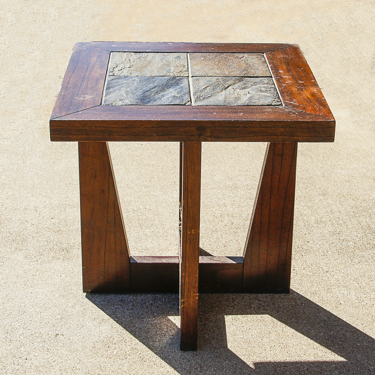 Mid Century Modern Style End Table with Slate Top