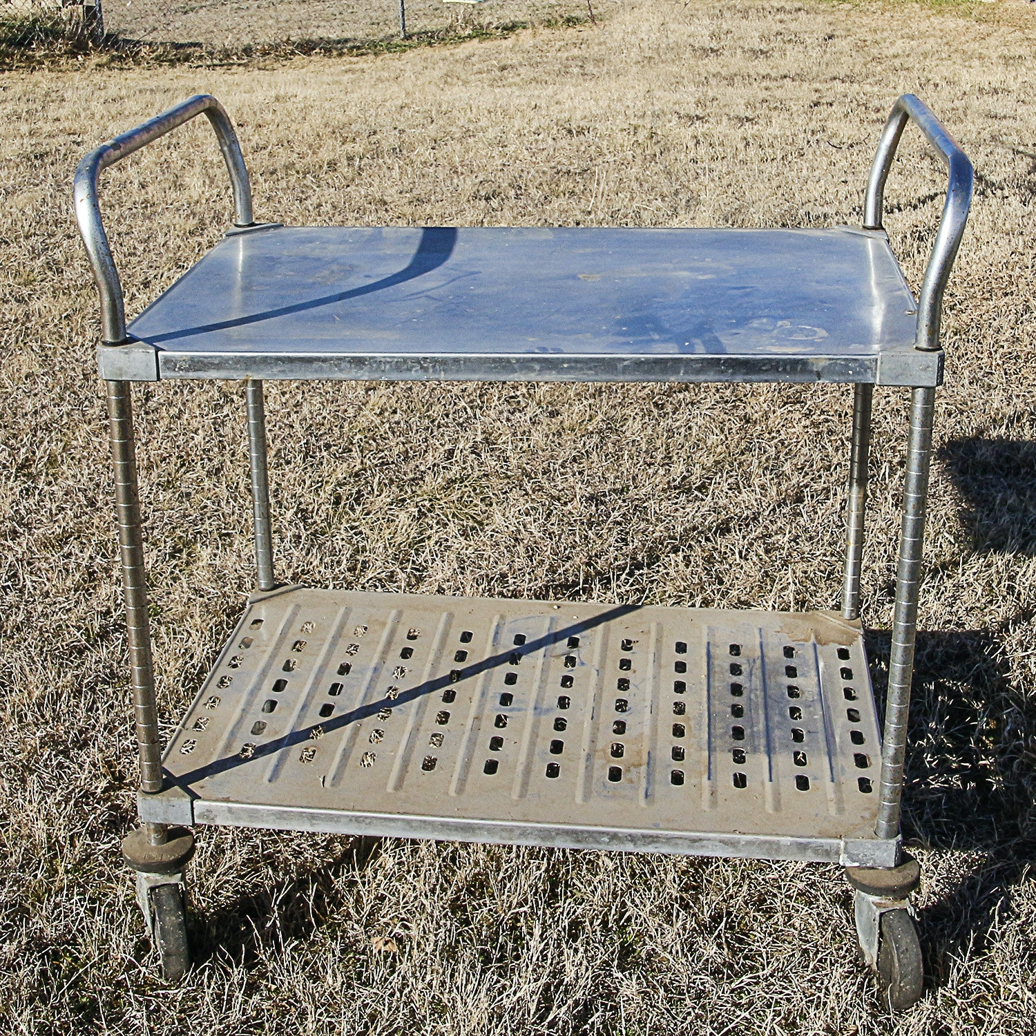 Metro Metal Rolling Storage Cart with Perforated Lower Shelf