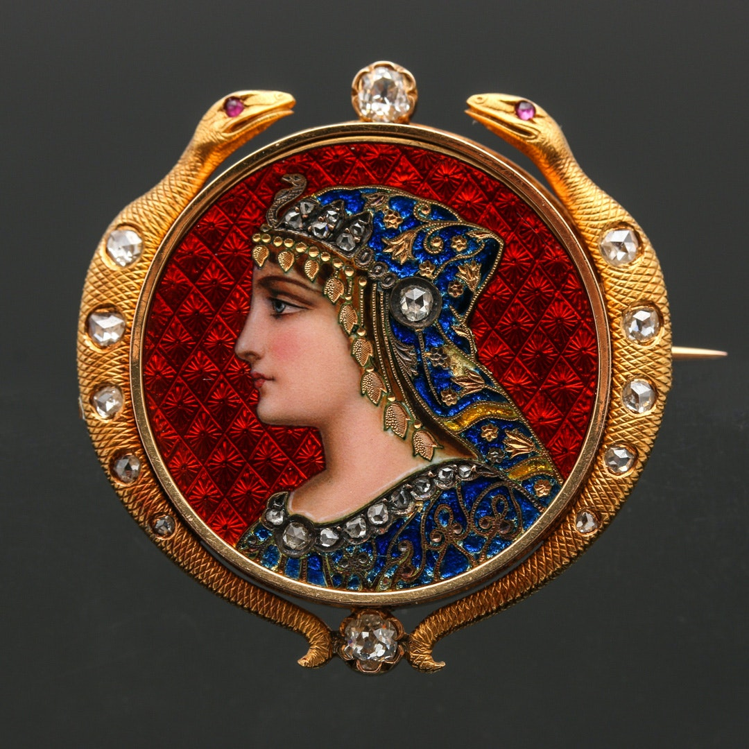 Mid-Victorian Egyptian Revival 18K Yellow Gold Diamond Ruby and Paillonné Brooch