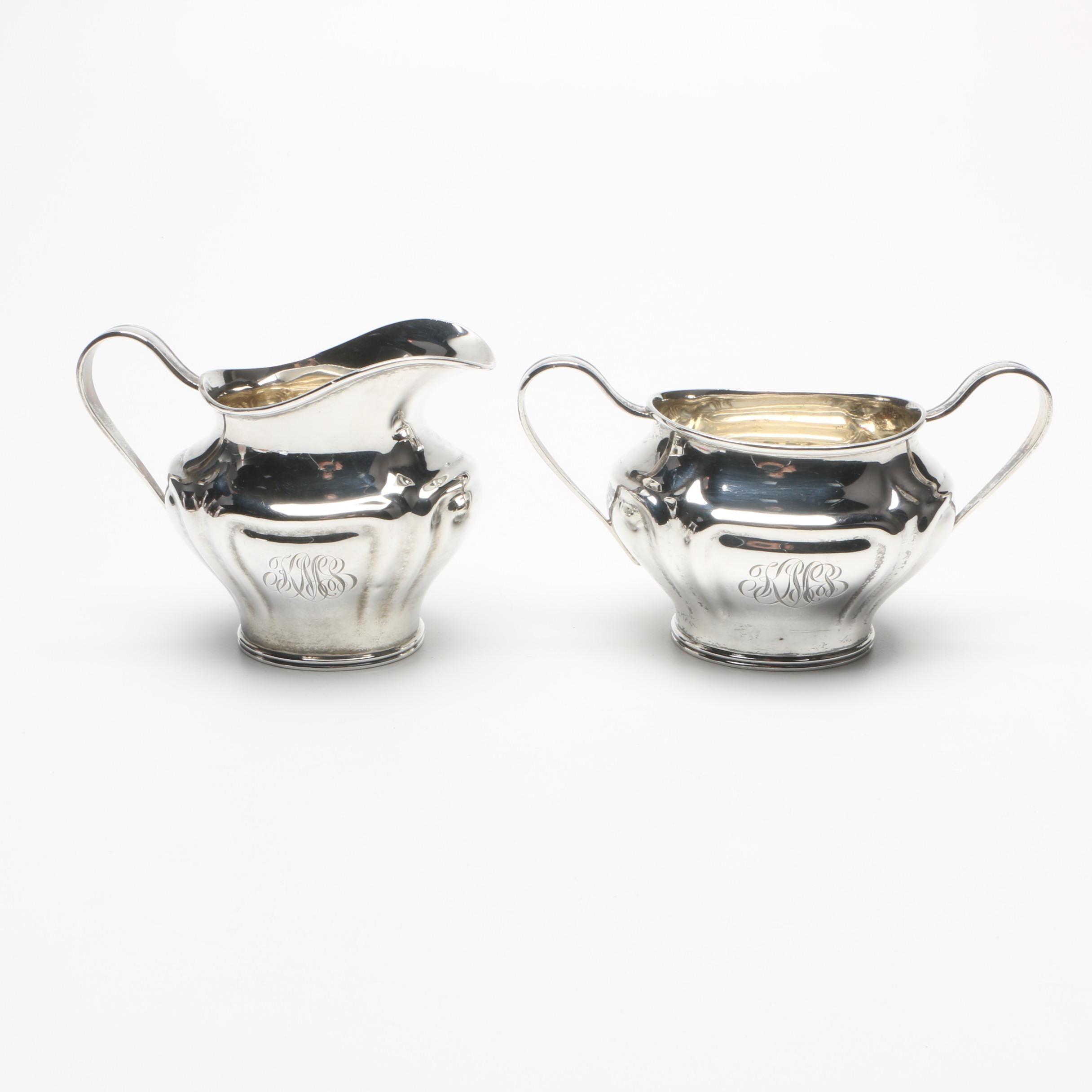 Newburyport Silver Co Sterling Silver Creamer and Sugar Bowl