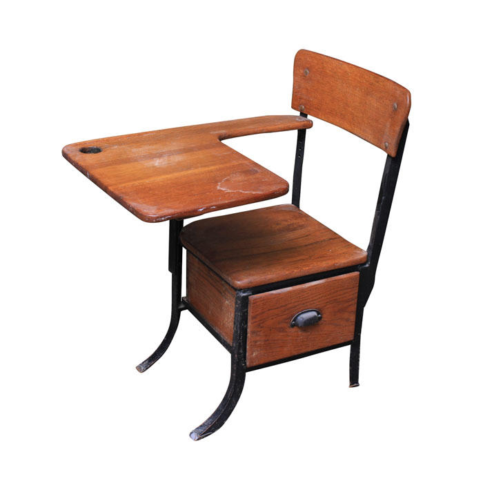 wooden school desk and chair. Vintage School Desk Chair Wooden And