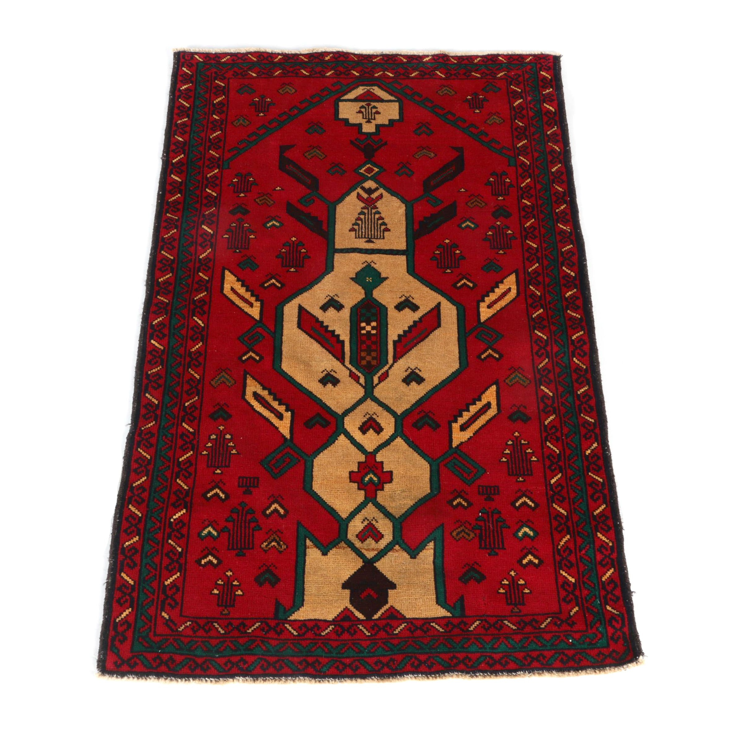 Hand-Knotted Anatolian Directional Wool Accent Rug