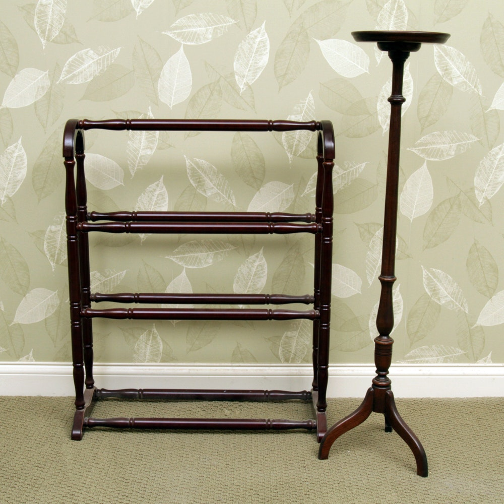 Cherry Quilt Rack and Ethan Allen Plant Stand