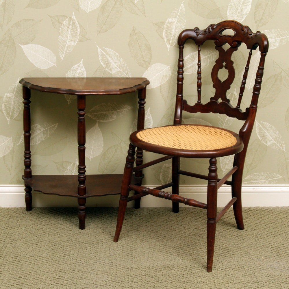 Demilune Table with Victorian Side Chair