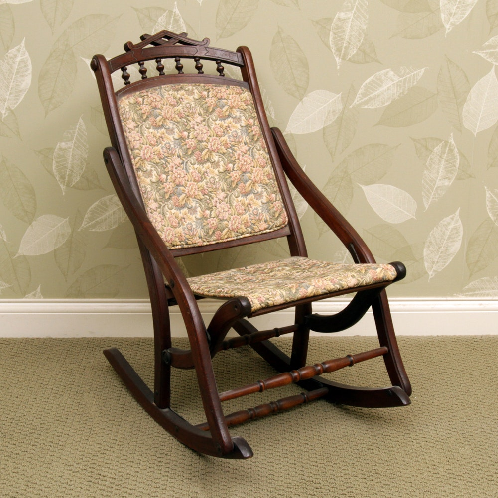 Vintage Victorian Style Folding Rocking Chair