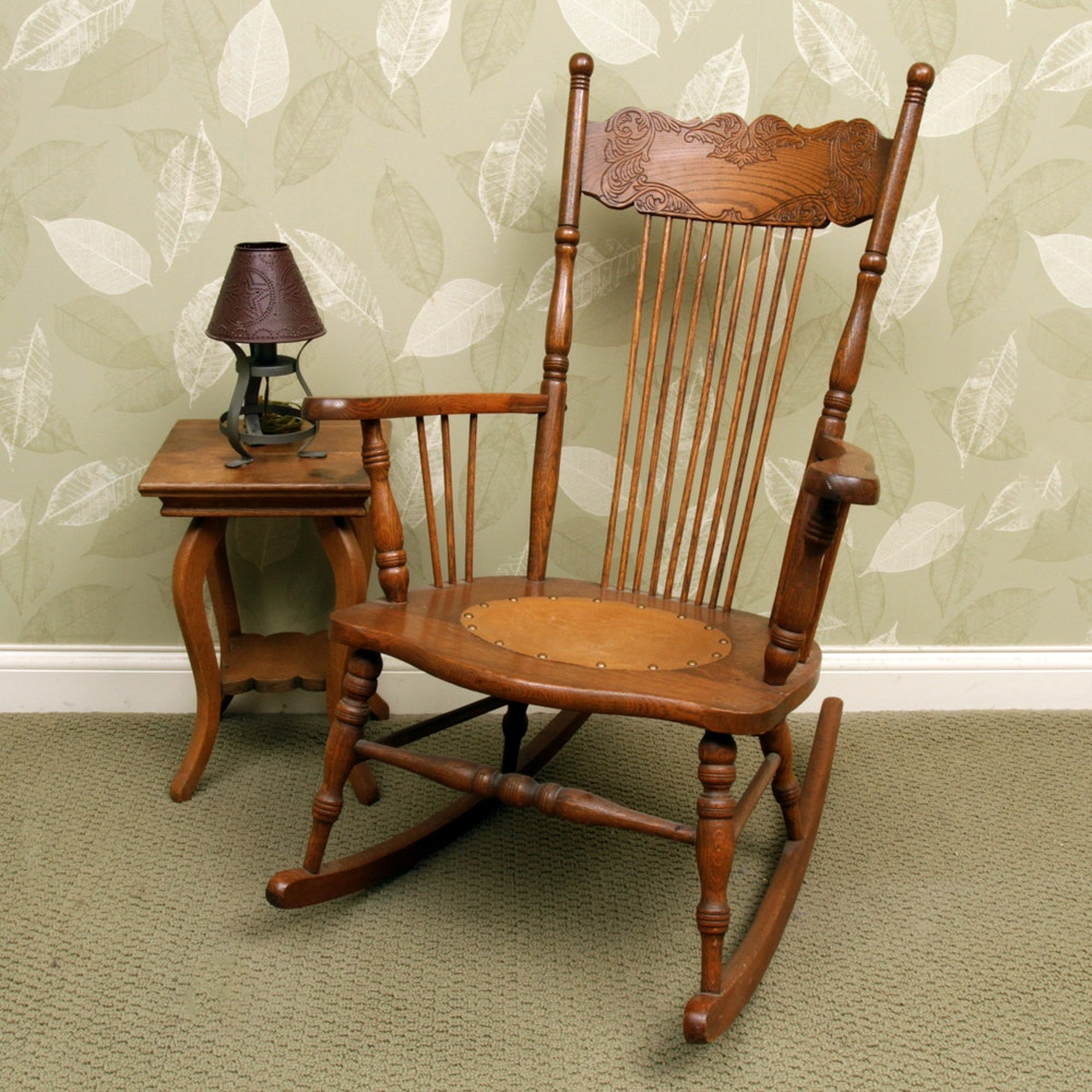 Vintage Oak Rocking Chair with Side Table and Lamp