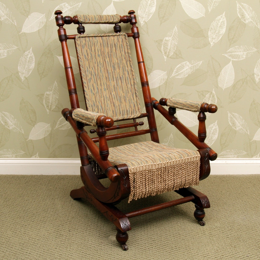 Antique Victorian Eastlake Platform Rocking Chair