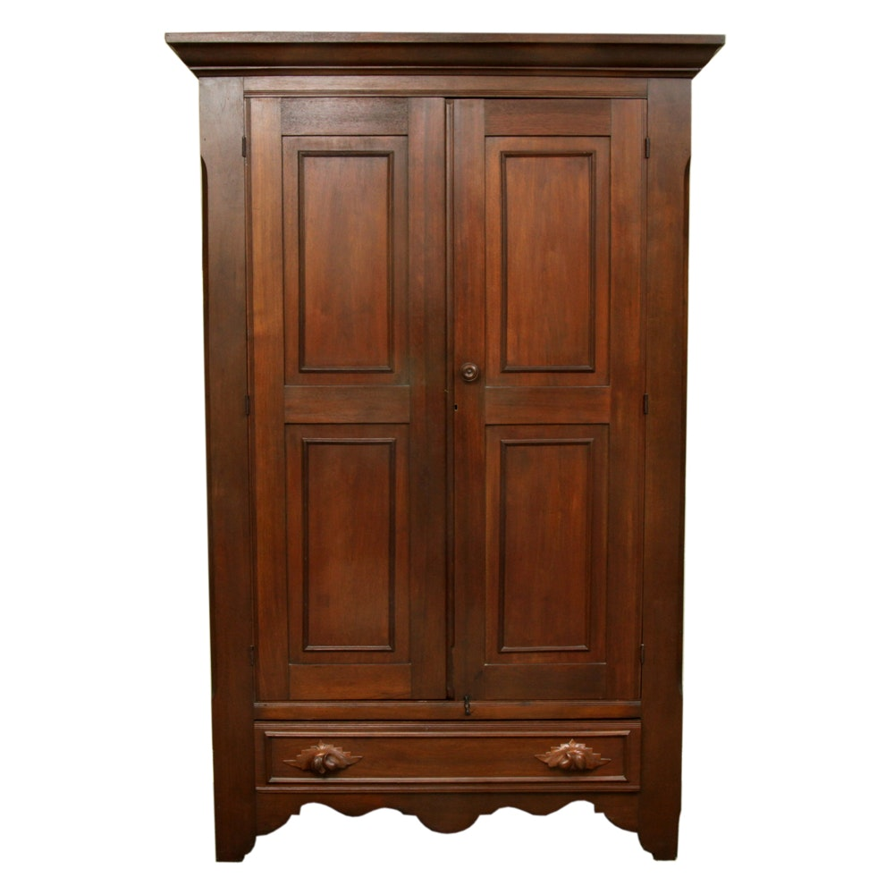 Antique American Victorian Walnut Wardrobe
