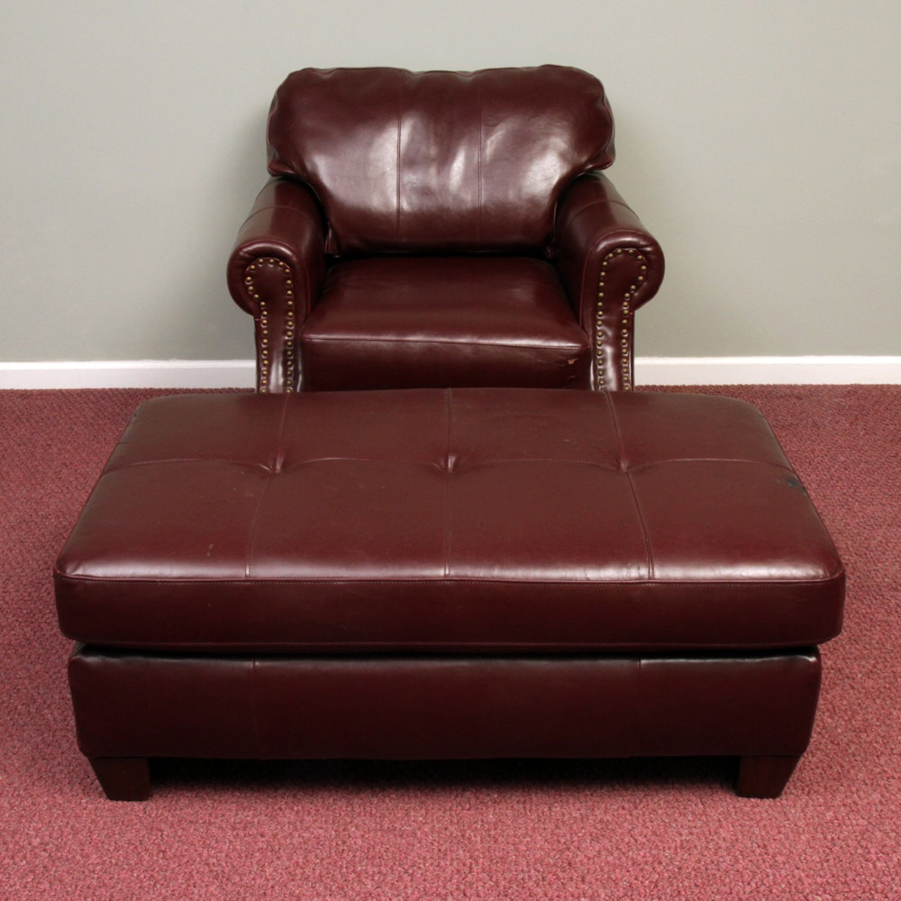 Upholstered Club Chair with Ottoman