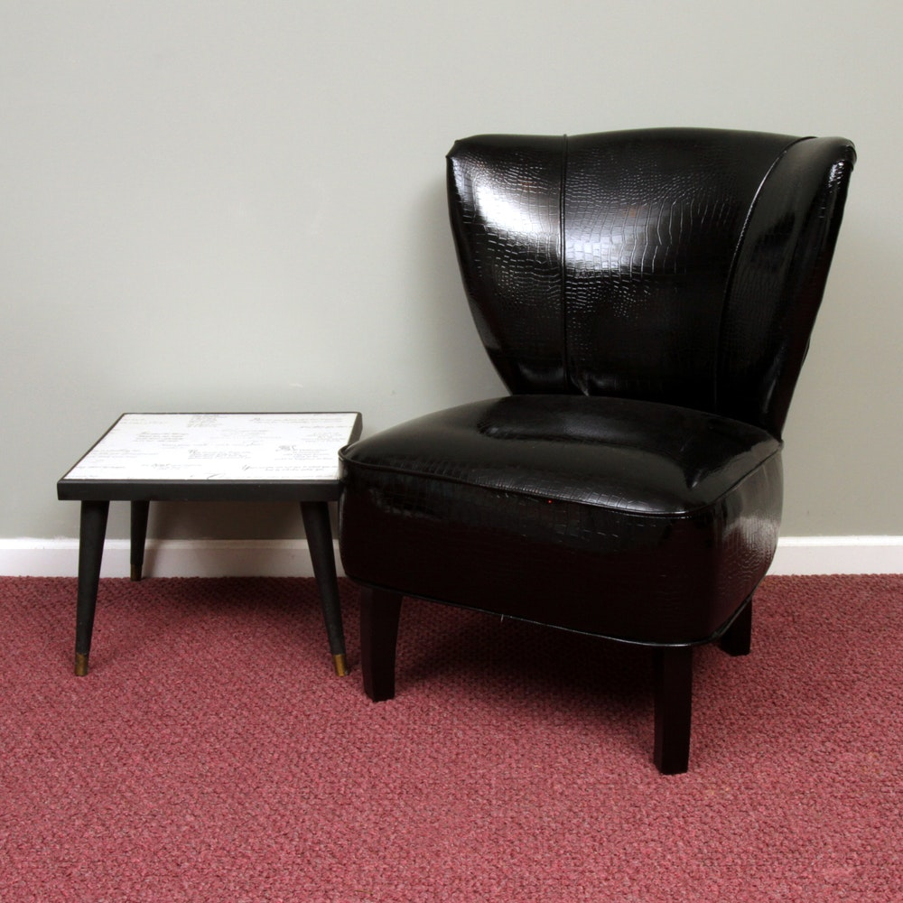 Contemporary Wingback Chair with Accent Table