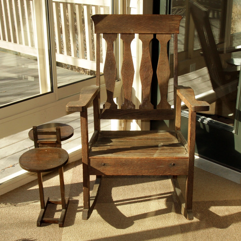 Vintage Oak Rocking Chair with Accent Table