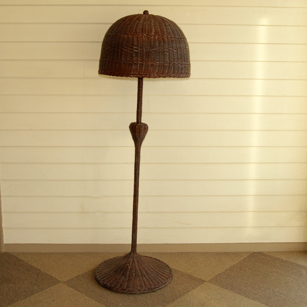 Vintage Brown Wicker Floor Lamp