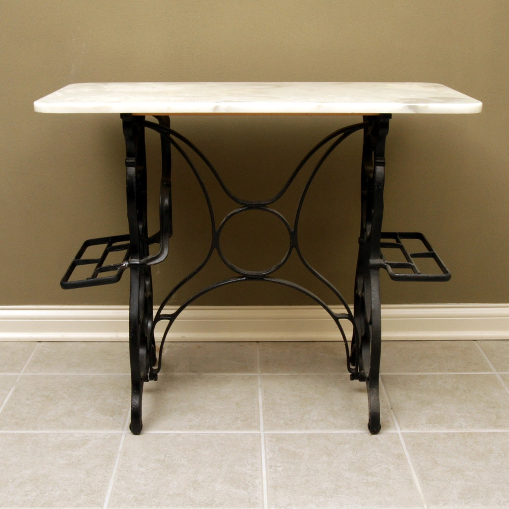 Marble Top Accent Table with Repurposed Sewing Machine Base