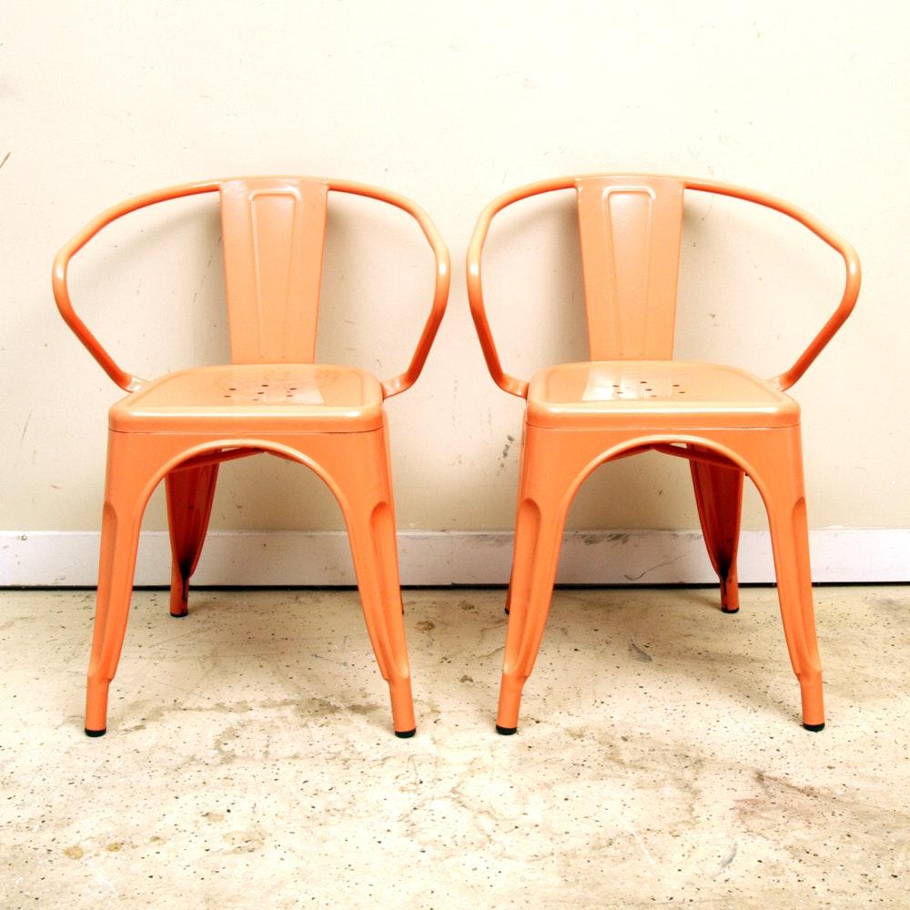 Pair of Orange Metal Chairs
