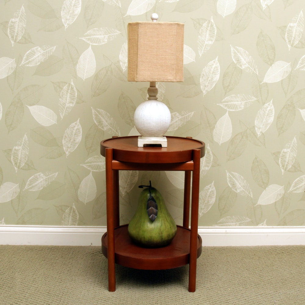 Table Lamp, Danish Modern Style Accent Table, and Pear Decor