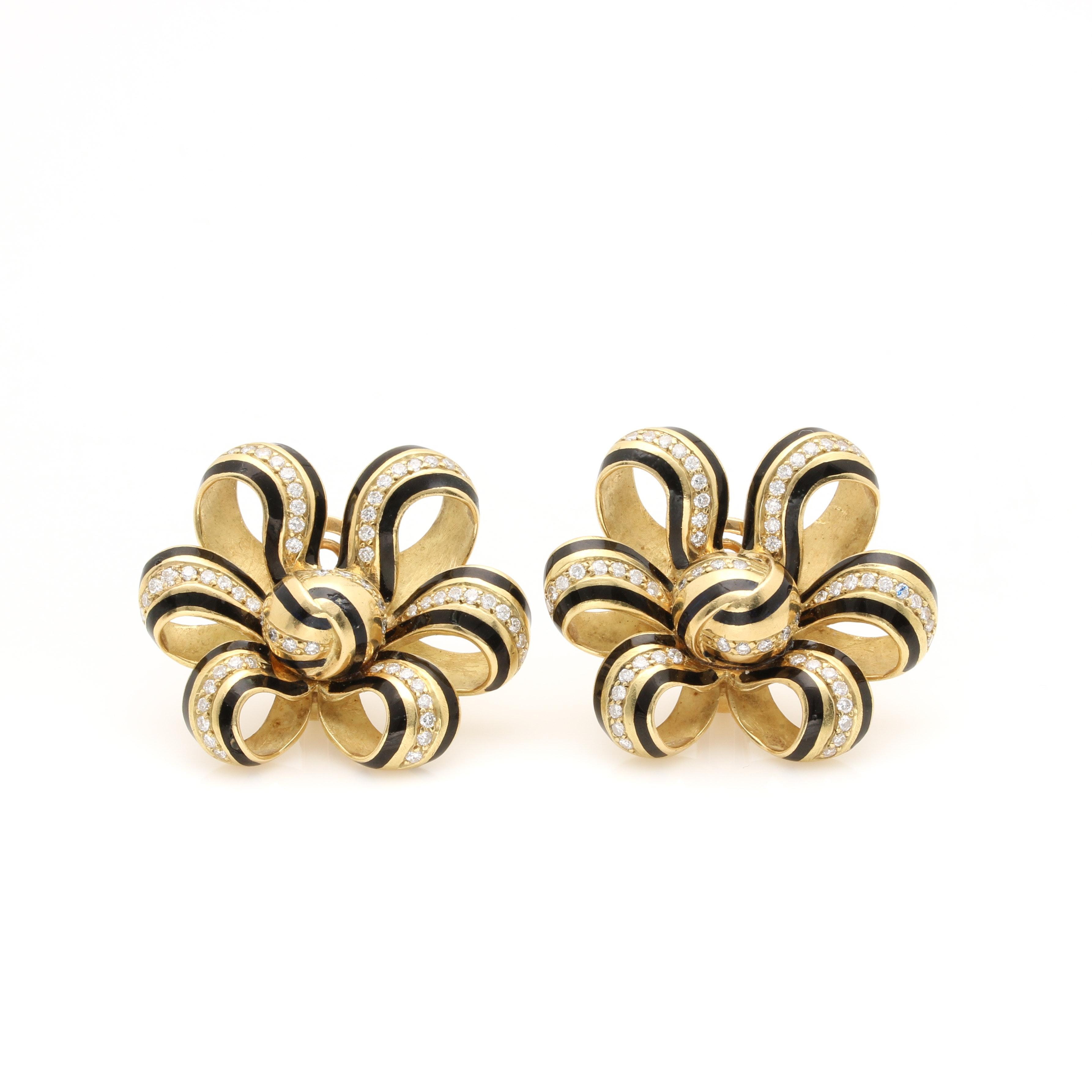 18K Yellow Gold Black Enameled 1.89 CTW Diamond Bow Clip On Earrings
