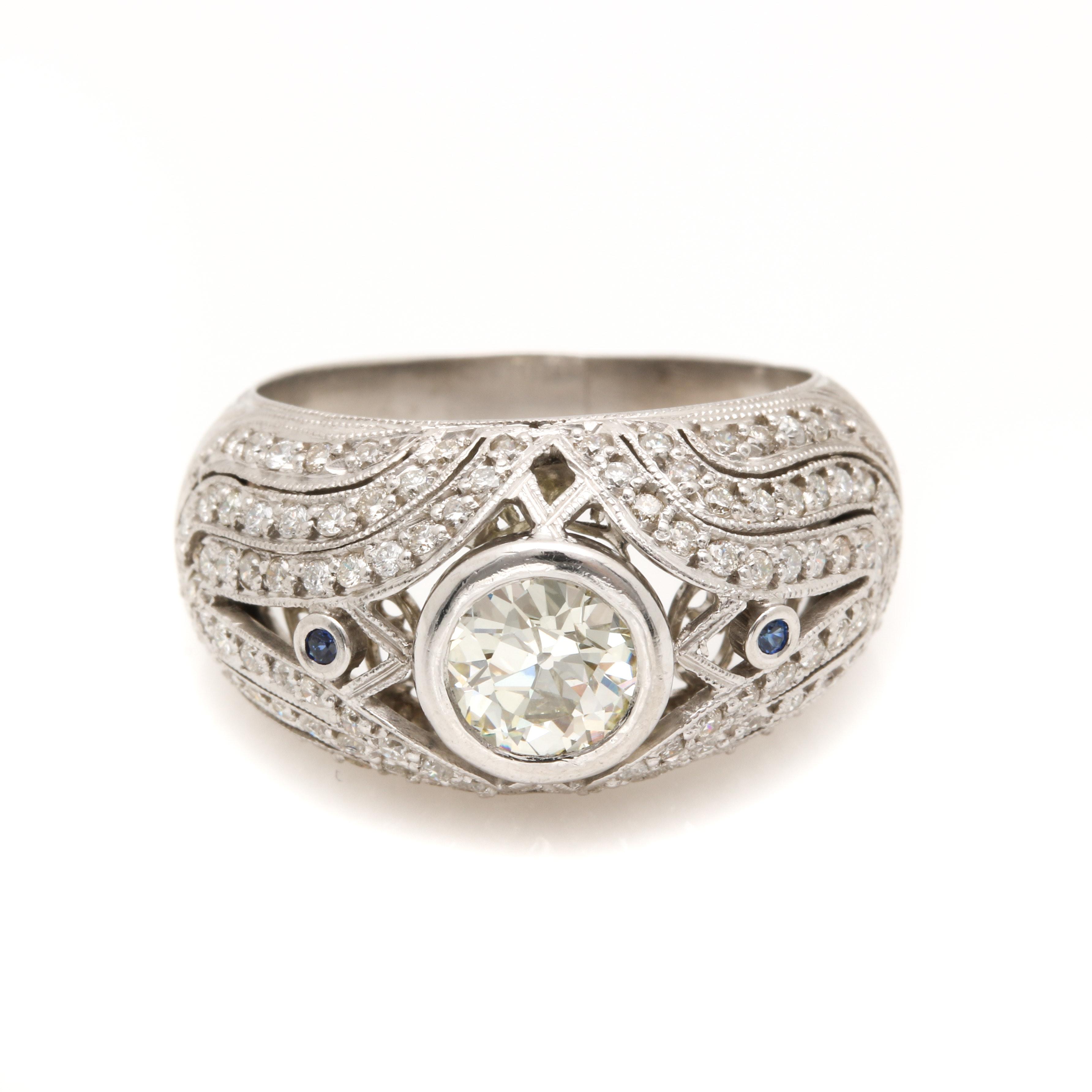 Platinum 1.61 CTW Diamond and Sapphire Ring