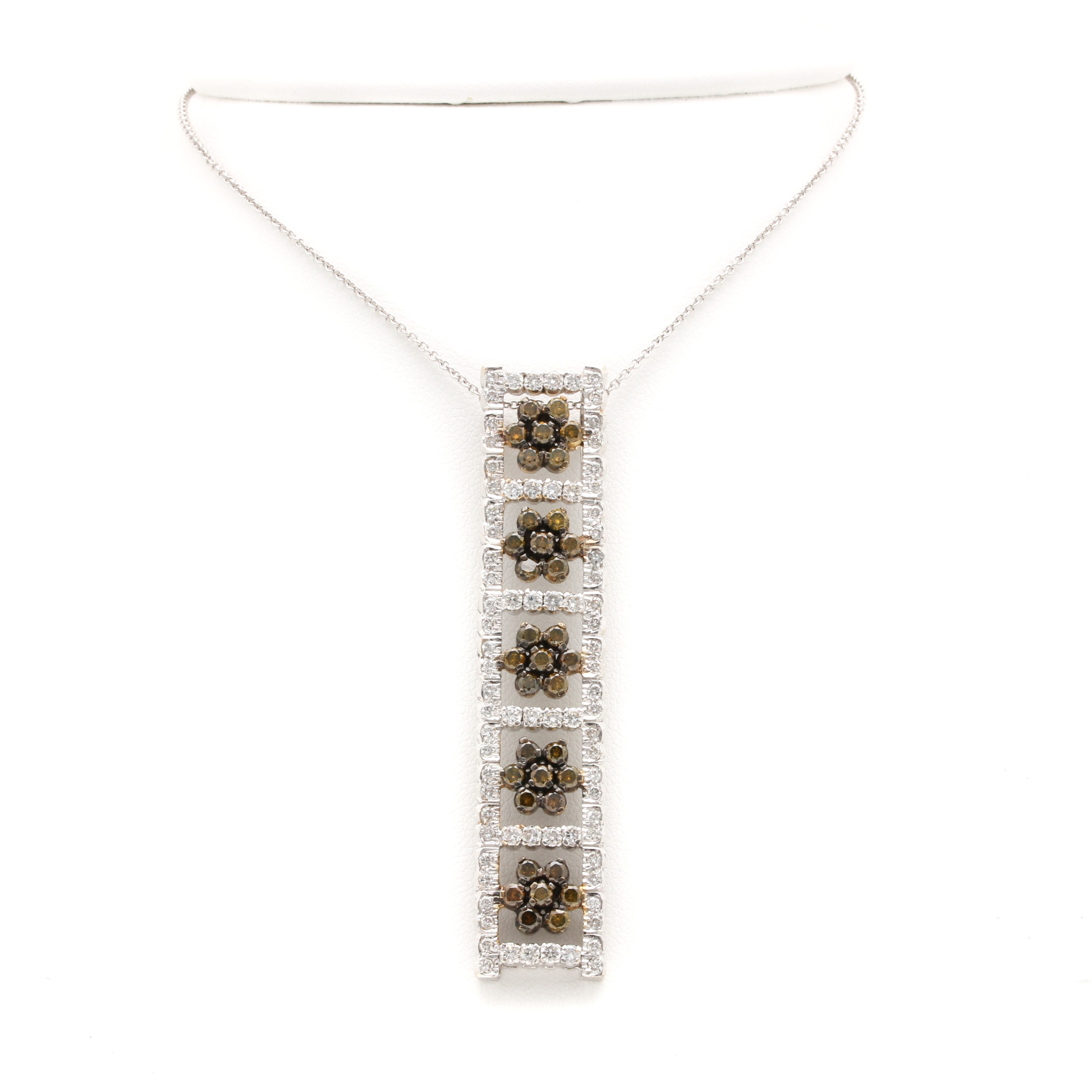 18K White Gold 3.30 CTW Diamond Pendant Necklace