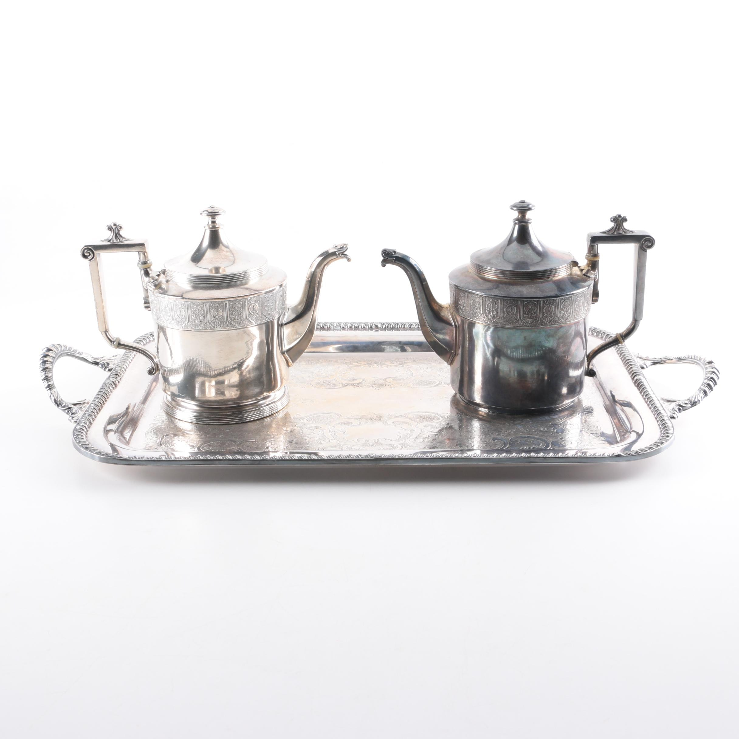 Middletown Silverware Silver Plate Tray and Reed & Barton Silver Plate Teapots