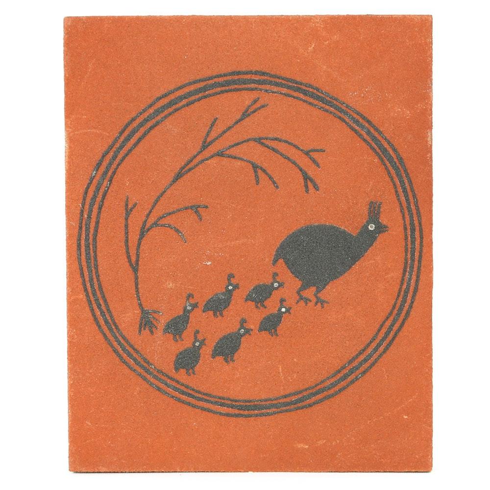 "Ruth Wills Mimbres Style Folk Art Plaque ""Quail"""