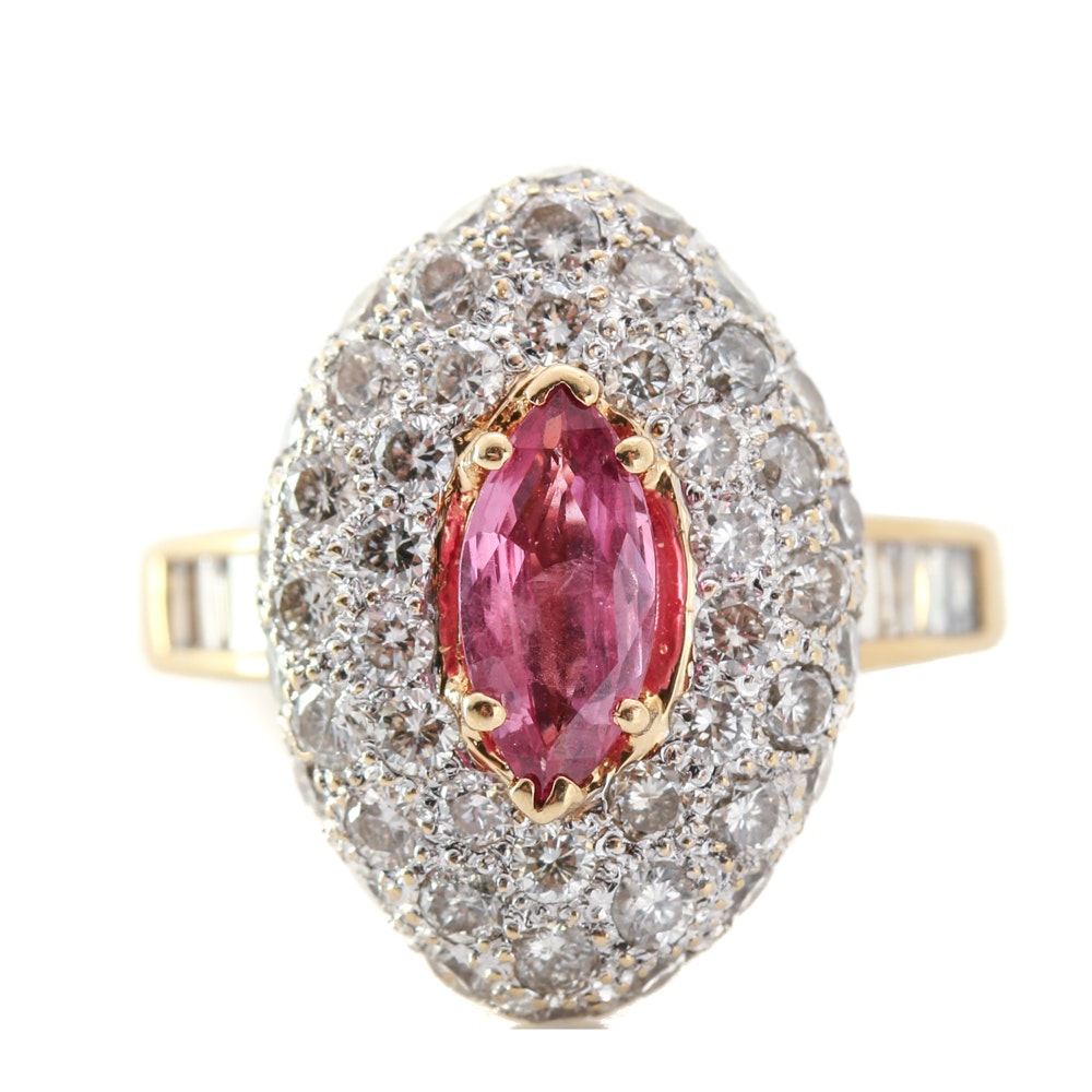 18K Yellow Gold Ruby and 1.75 CTW Diamond Ring