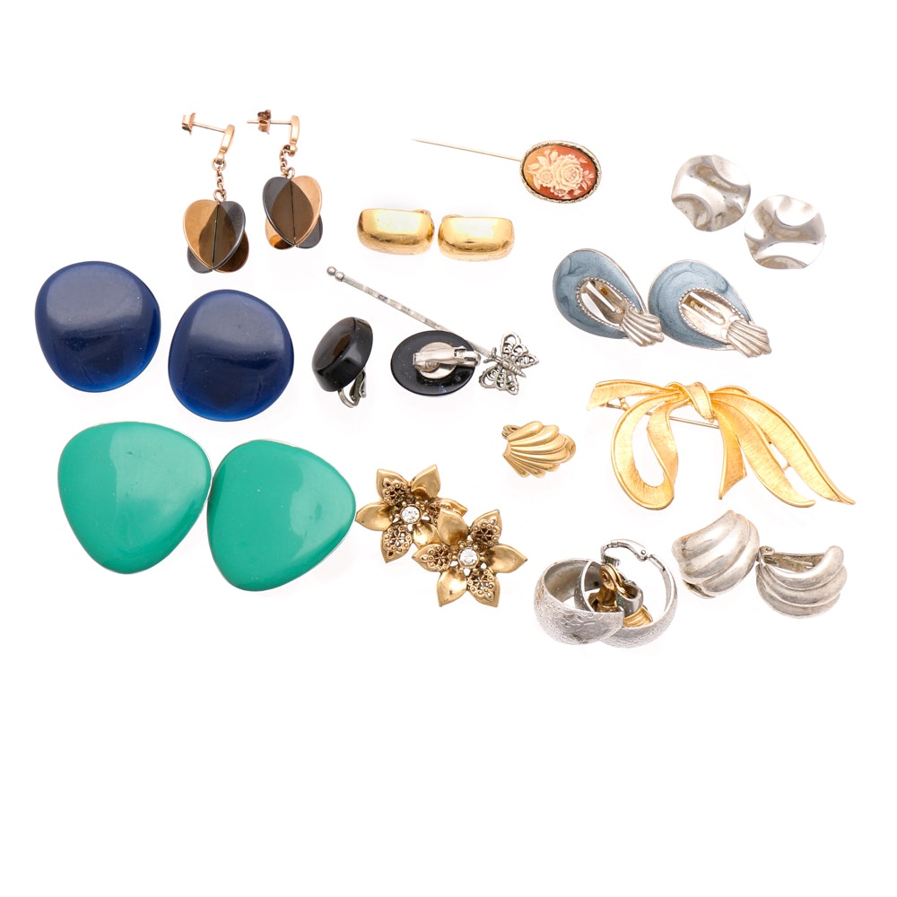 Silver and Gold-Tone Earring and Brooch Selection