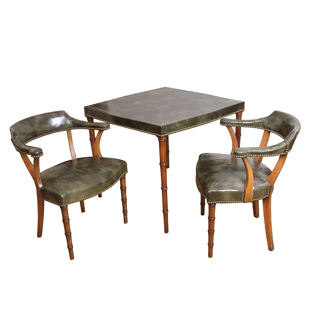 Vintage Regency Style Game Table with Armchairs by Barnard & Simonds Company