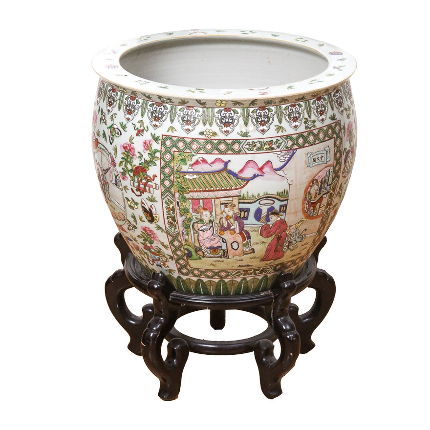 Chinese Fishbowl Planter And Wooden Plant Stand